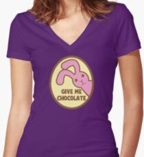 GIVE ME CHOCOLATE with cute little Easter bunny rabbit Women's Fitted V-Neck T-Shirt
