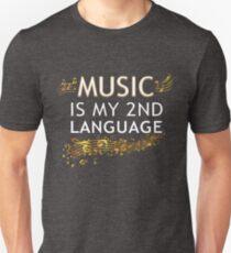 Music is My 2nd Language Beautiful Inspiring Treble Clef Unisex T-Shirt