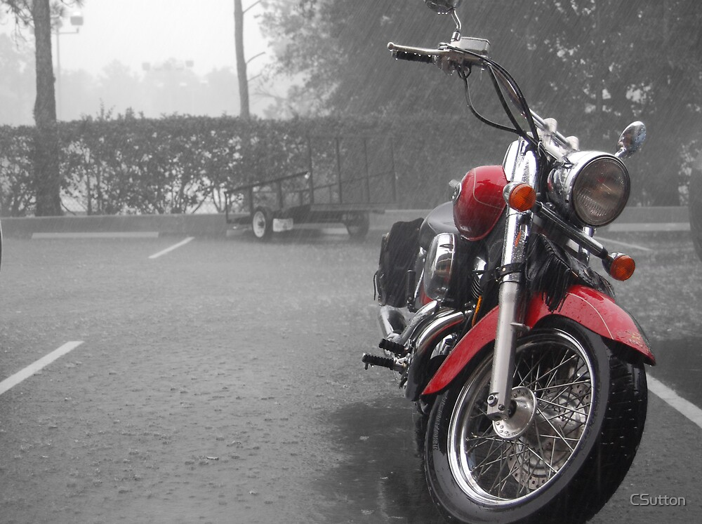Motorbike in the rain by CSutton