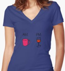 AM Coffee PM Wine  Women's Fitted V-Neck T-Shirt