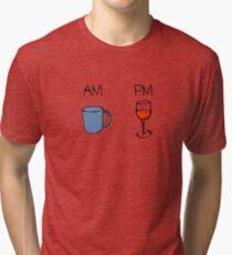AM Coffee PM Wine  Tri-blend T-Shirt