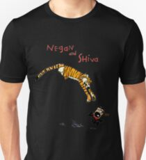 Calvin and Hobbes style Negan and Shiva Cartoon Print Walking Dead Unisex T-Shirt