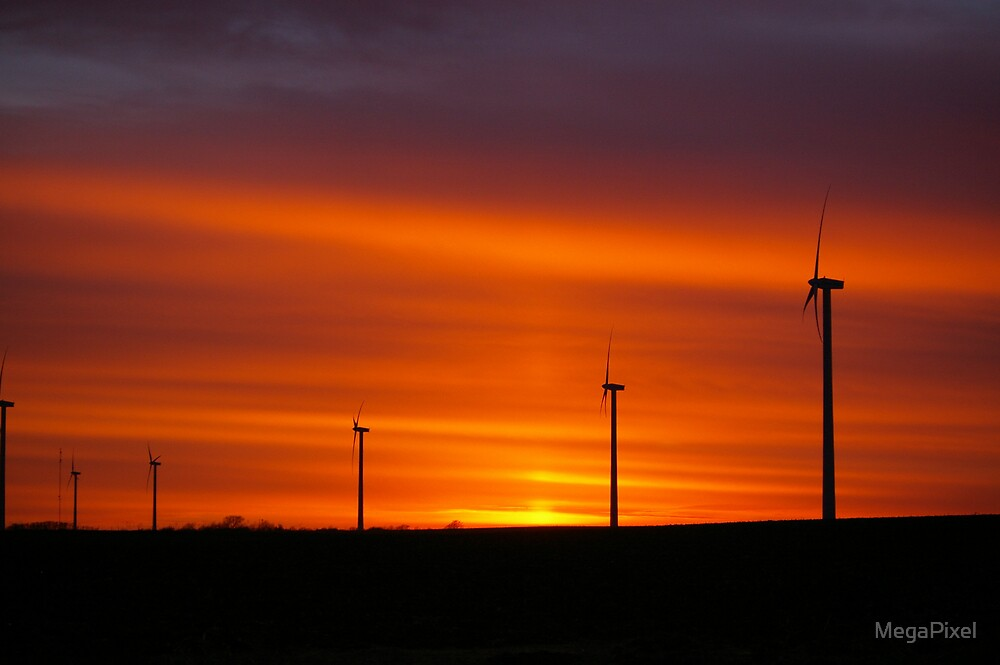 Evening View of Wind Farm by MegaPixel