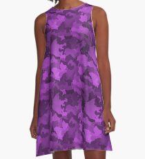 Purple Camo Pattern  A-Line Dress