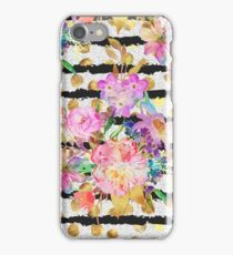 Elegant spring flowers and stripes design iPhone Case/Skin