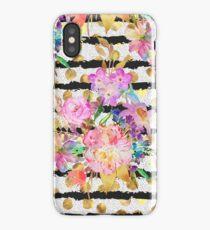 Elegant spring flowers and stripes design iPhone Case/Skin