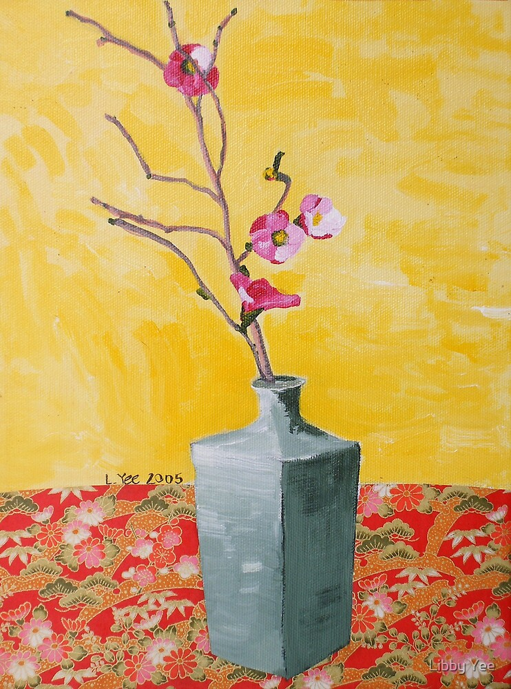 cherry blossum in vase by Libby Yee