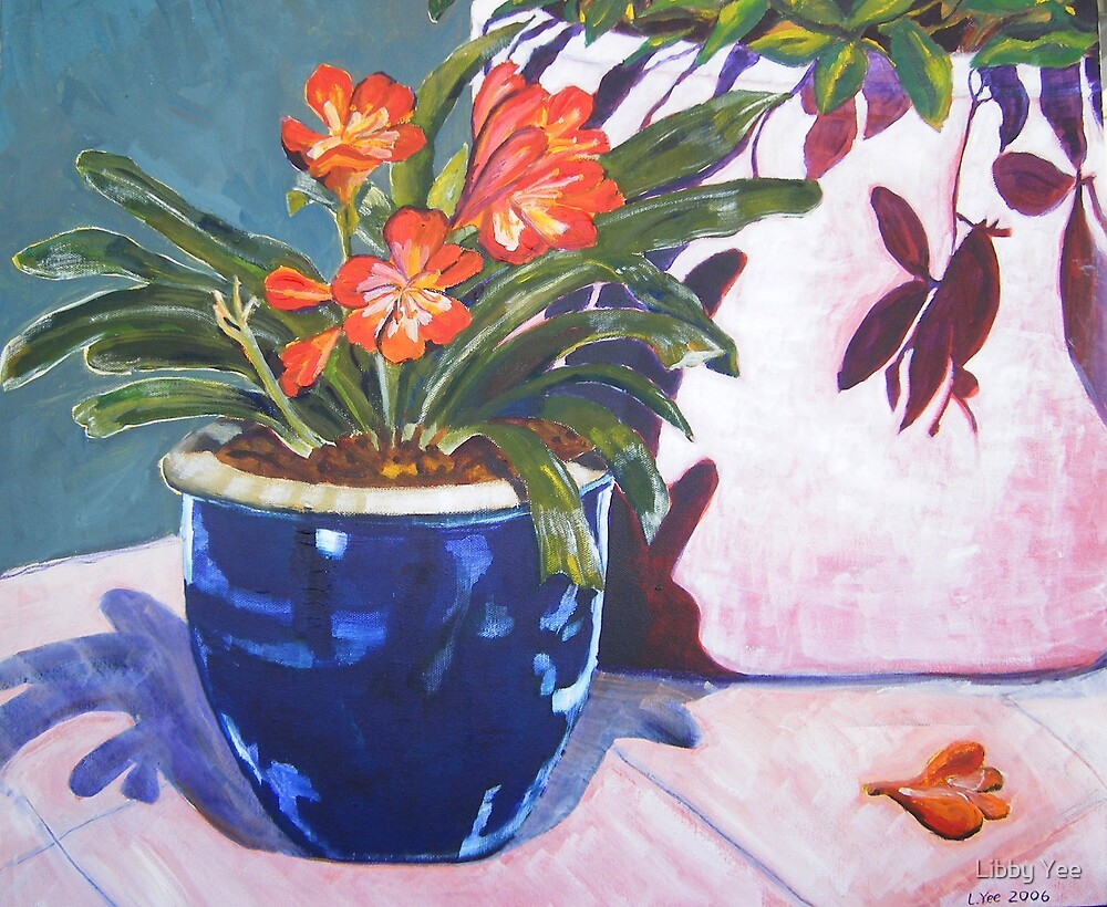 clivia in blue pot by Libby Yee