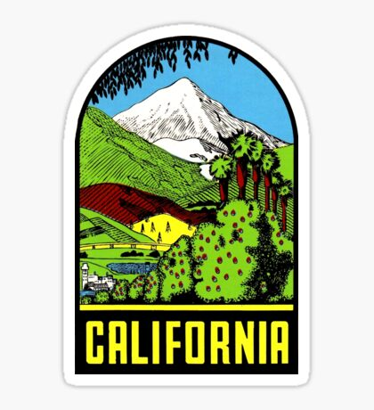 California Crops to Mountains Vintage Travel Decal Sticker