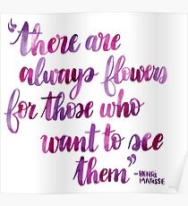 Matisse Flowers Watercolor Brush Lettering Pink Quote Poster