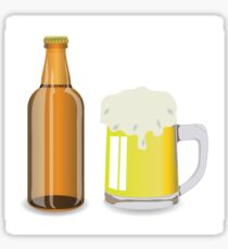 bottle and mug of beer Sticker