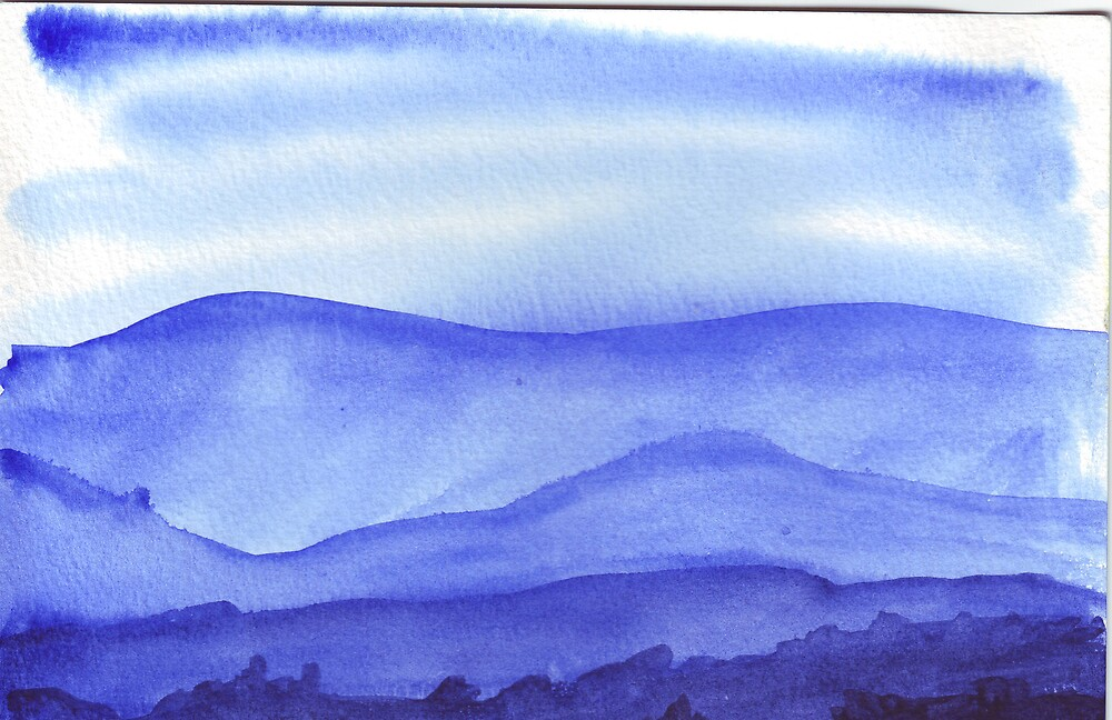 Blue landscape by Ruth Bretherick