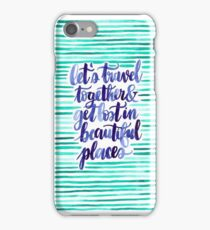 Travelling Romantic Couple Watercolor Quote Green & Blue Stripes iPhone Case/Skin