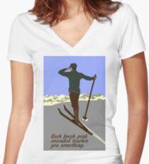 Retro ski, inspirational quote Women's Fitted V-Neck T-Shirt