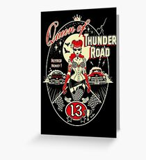 Thunder Road, Rockabilly, Pinup, tattooed Pinup,Art Print,Kustom Art, Lowbrow Art,Hot Rod Art Greeting Card