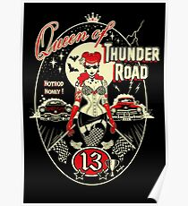 Thunder Road, Rockabilly, Pinup, tattooed Pinup,Art Print,Kustom Art, Lowbrow Art,Hot Rod Art Poster