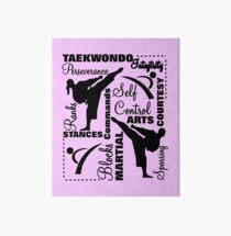 Taekwondo Martial Arts Terminology Typography Art Board