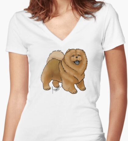 Chow Chow Women's Fitted V-Neck T-Shirt