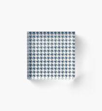 Dusky Blue Houndstooth Pattern Acrylic Block