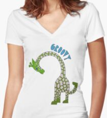 GROOVY GIRAFFE | Green Women's Fitted V-Neck T-Shirt