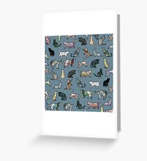 Cats shaped Marble - Steel Teal Blue Greeting Card