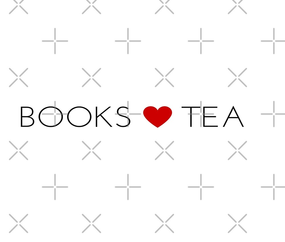 Books Love Tea Black Lettering with Red Heart by KirstenJRenfroe