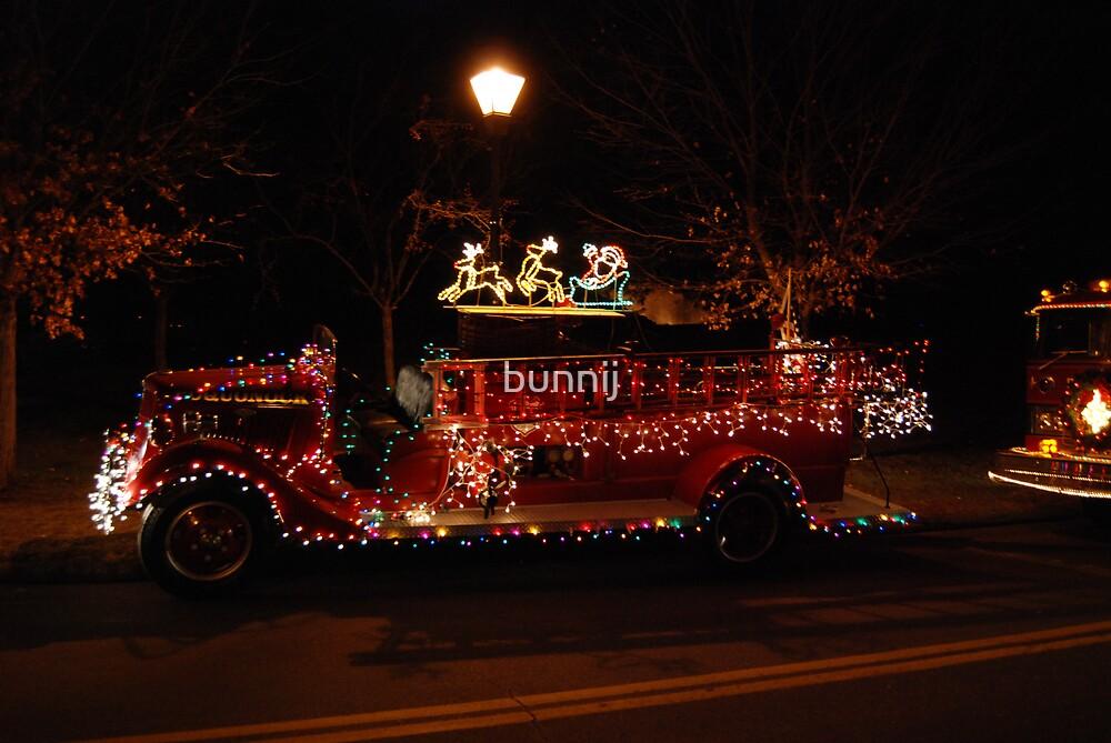 Antique Christmas Fire Truck by bunnij