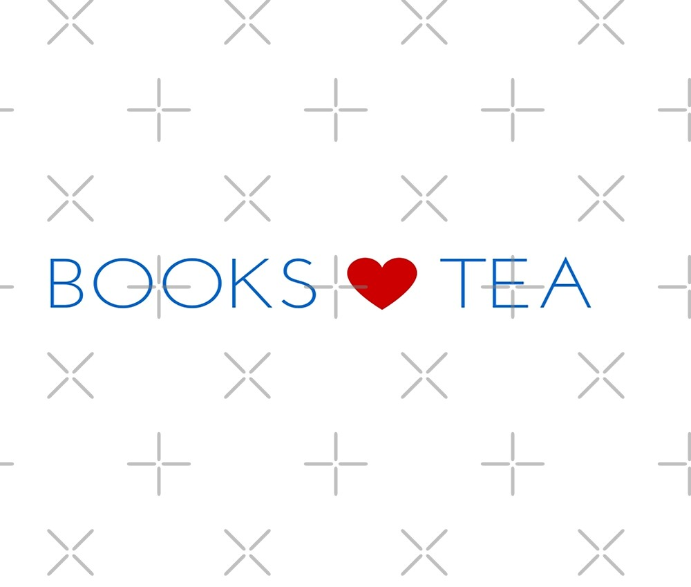 Books Love Tea Blue Lettering with Red Heart by KirstenJRenfroe