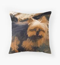 Little Yorkie  Artwork  - Yorkshire Terrier Dog Throw Pillow
