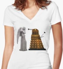 Dalek and Weeping Angel Women's Fitted V-Neck T-Shirt
