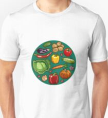 Set of pixel images of vegetables and fruit on green background. Unisex T-Shirt