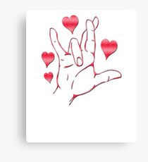 American Sign Language -I love you very much Canvas Print