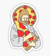 Jesus loves pizza Sticker