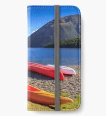 kayaks and mountain lake, location - Nelson Lakes National Park, New Zealand iPhone Wallet