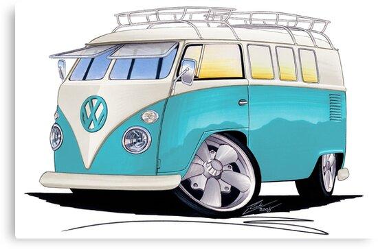 VW Splitty (Custom Blue) Camper Van by yeomanscarart