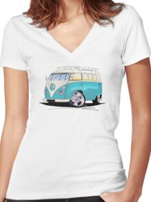 VW Splitty (Custom Blue) Camper Van Women's Fitted V-Neck T-Shirt