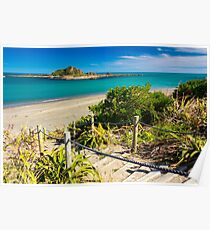 Island and the coast. Location: New Zealand Poster
