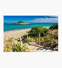 Island and the coast. Location: New Zealand Photographic Print