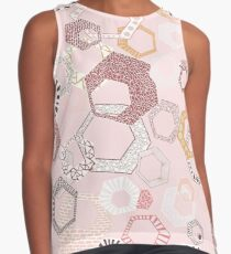 Hexagons Seamless Repeating Pattern on Pink Contrast Tank