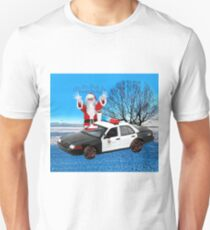 HO HO HOLD ON SEASONS GREETING HUMEROUS POLICE SANTA PILLOW AND OR TOTE BAG Unisex T-Shirt