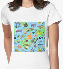 Nicktoons Hawaiian Print-a-Palooza! Women's Fitted T-Shirt