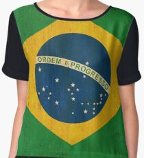 Brazil national flag background in grunge vintage style Chiffon Top