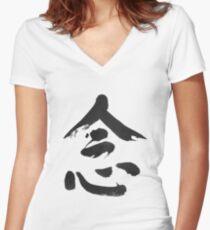 MINDFULNESS ZEN BUDDHISM Women's Fitted V-Neck T-Shirt