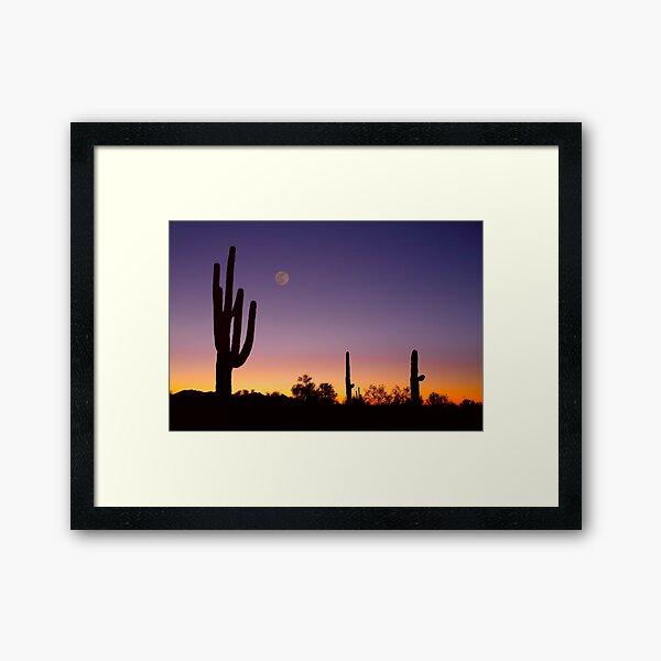 Early Morning Southwest USA Desert Moon Glow Framed Art Print