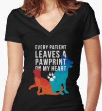 Every patient leaves a pawprint on my heart vet tech t-shirt Women's Fitted V-Neck T-Shirt