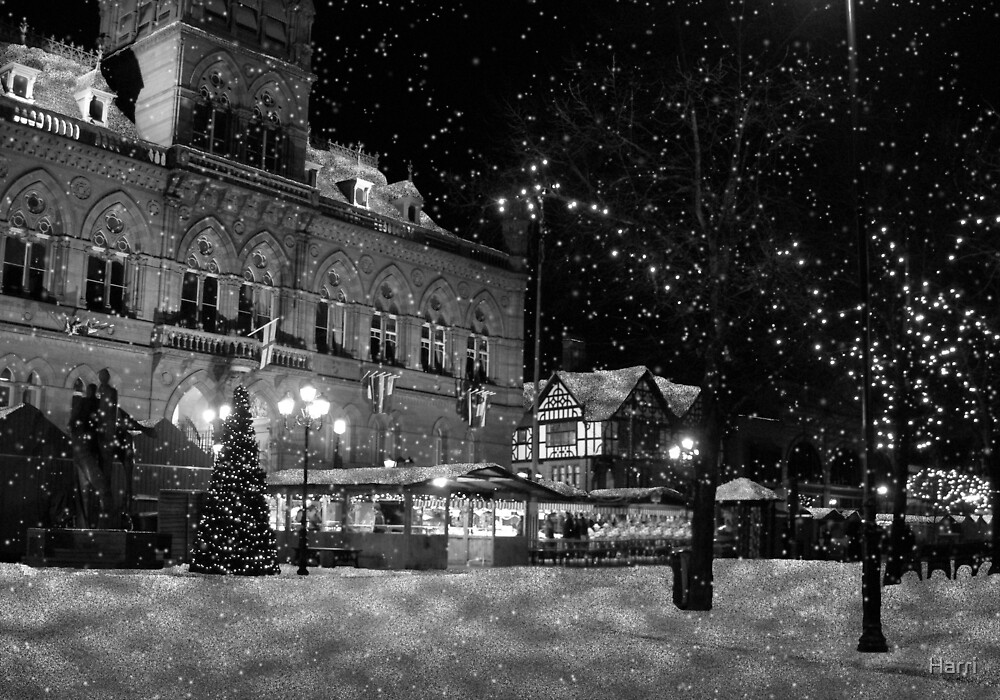 Chester Town Hall Snow falling by Harri