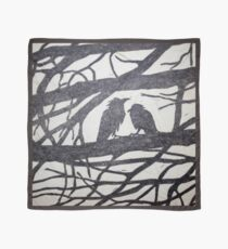 Two Ravens Silhouetted in Winter Oak Black Scarf