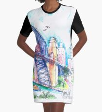 Sydney Harbour Bridge and boats Graphic T-Shirt Dress