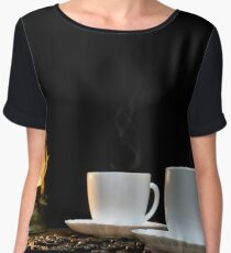 Cups of hot coffee and scattered grains of coffee on the table and kerosine lamp Chiffon Top
