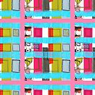 found paper: colorful happy abstract collage of a building on a pink background by mariska eyck